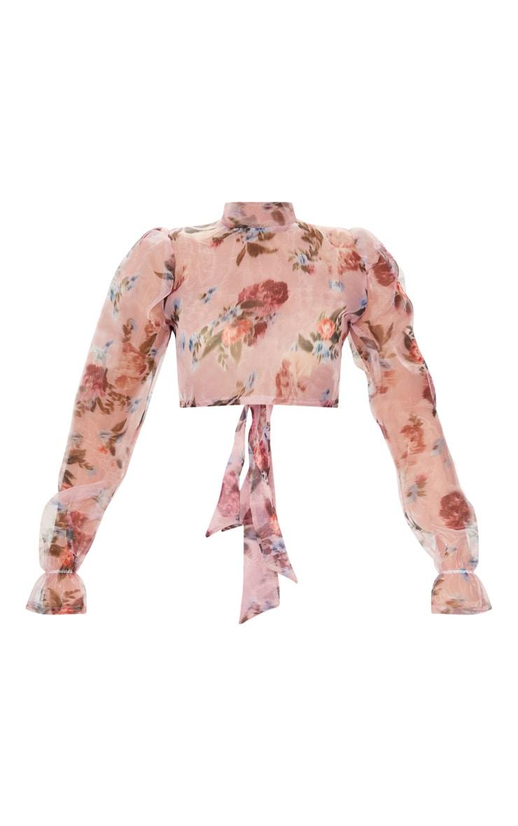 Pink Tie Back Floral Print Organza Crop Top 5