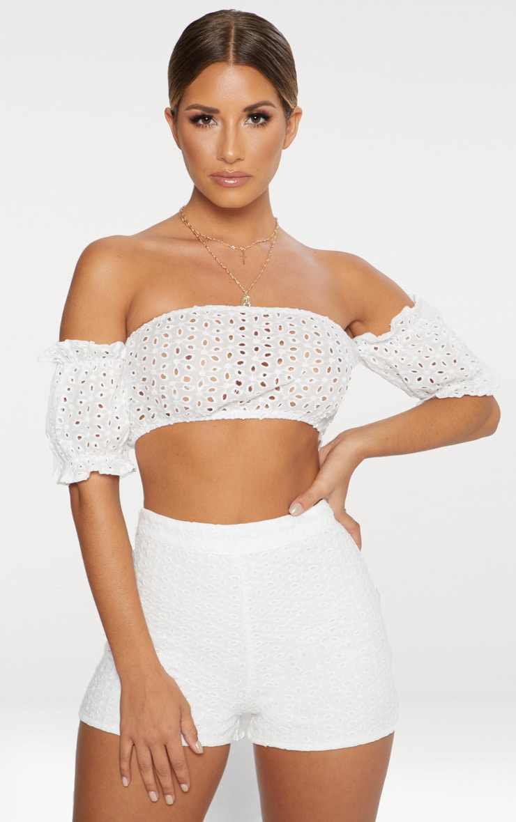 White Broderie Anglaise Shorts 1