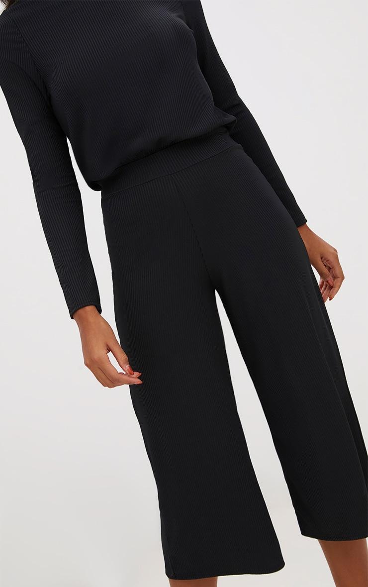 Black Ribbed High Neck Culotte Jumpsuit  5