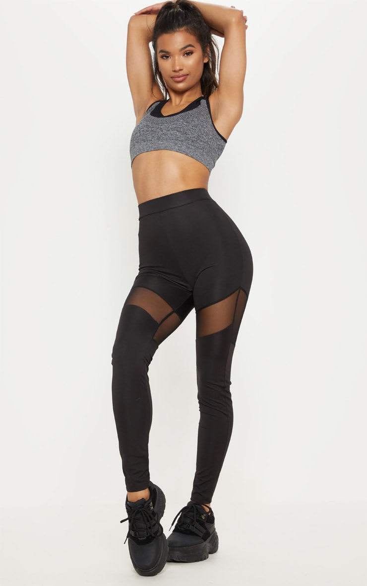 Charcoal Seamless Padded 2 in 1 Sports Bra  4