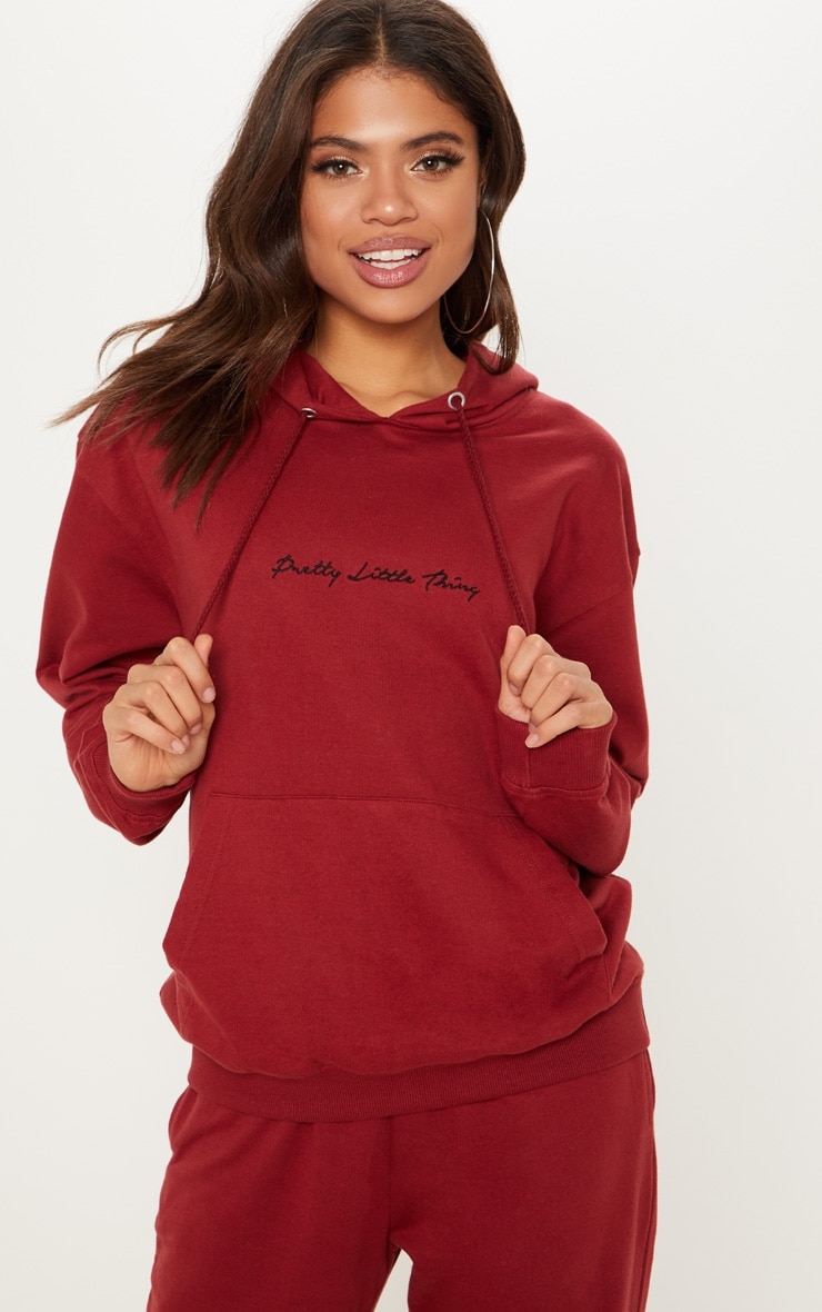 PRETTYLITTLETHING Burgundy Embroidered Oversized Hoodie 1