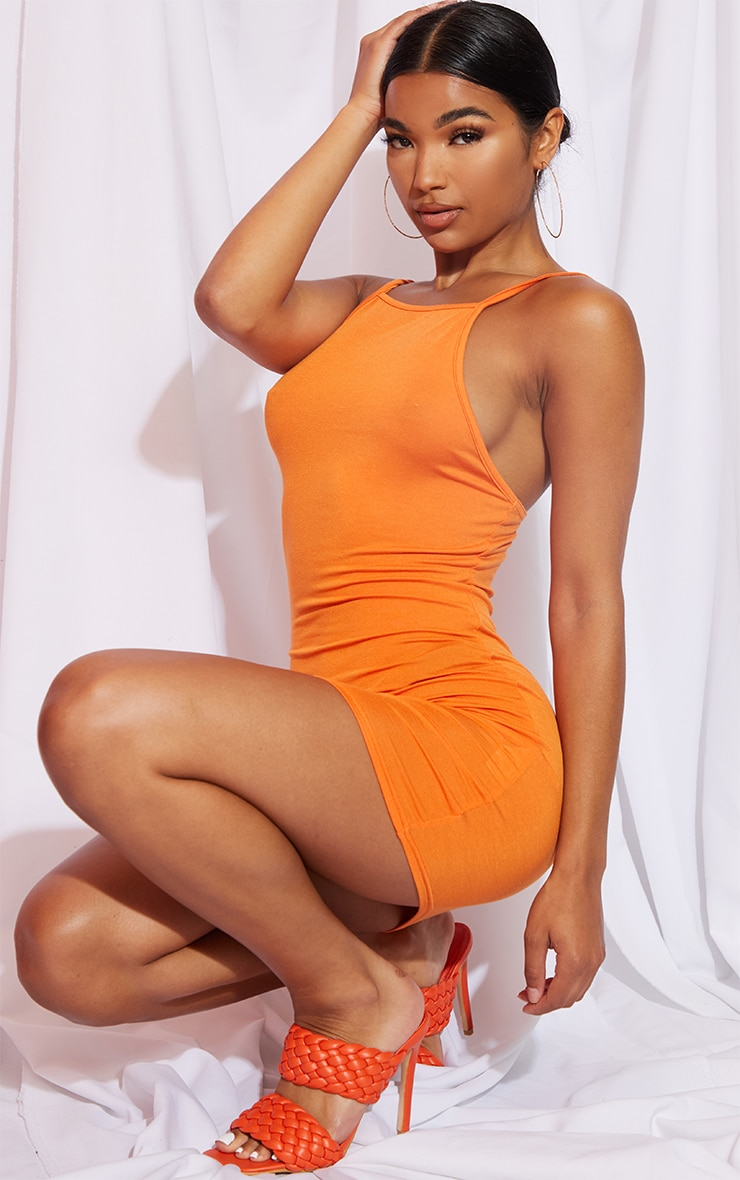 Orange 90s Neck Bodycon Dress 3