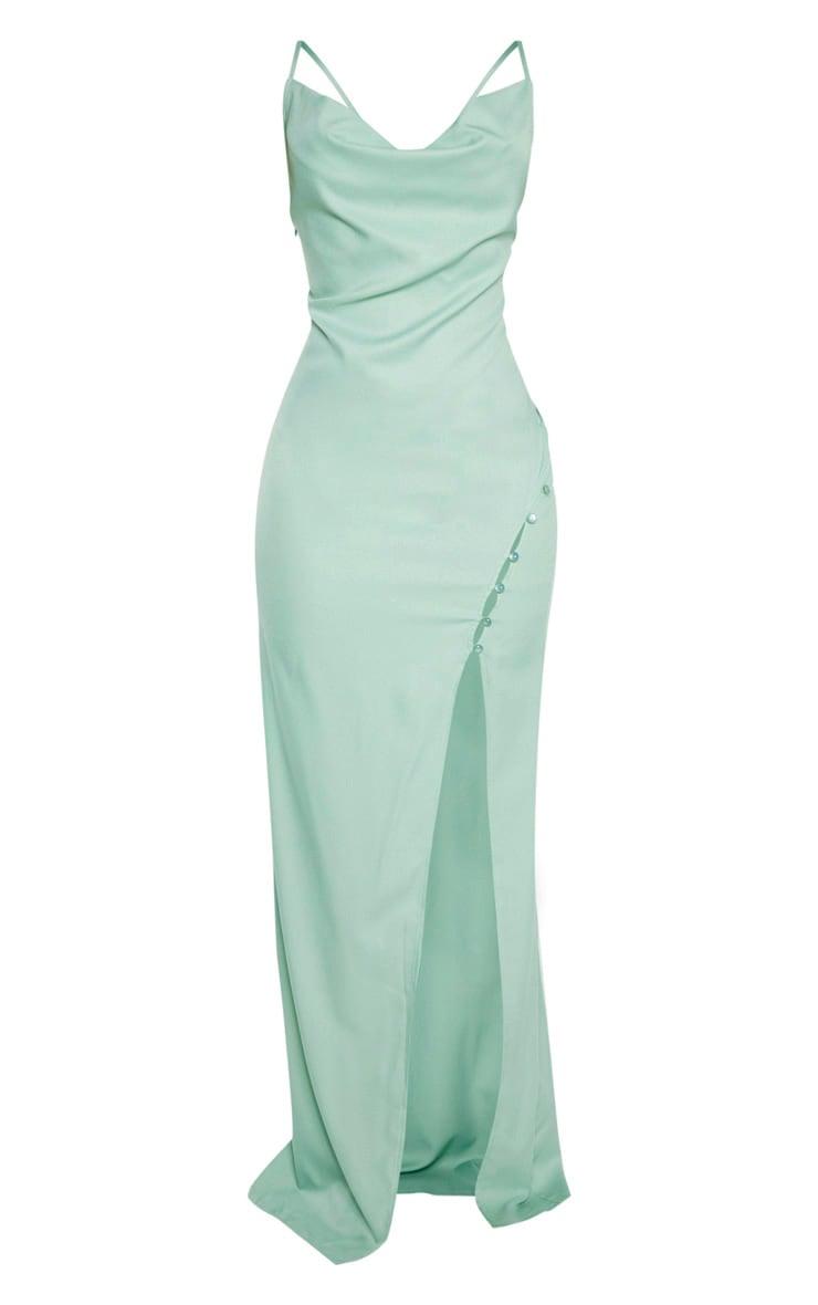 Sage Khaki Cowl Neck Button Maxi Dress  3