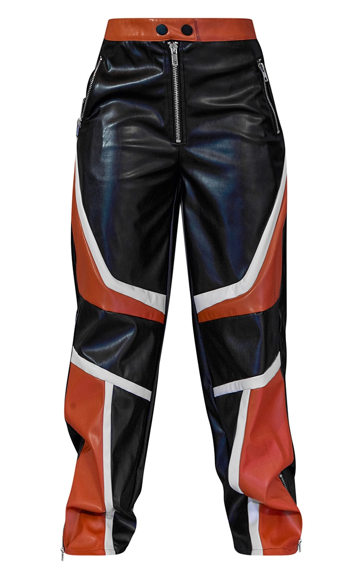 Pantalon ample noir à parties en similicuir 6