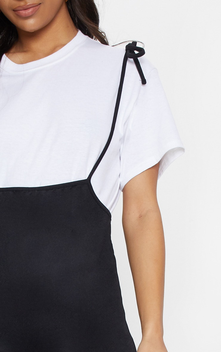 Black Tie Shoulder Jersey Pinafore Dress 5