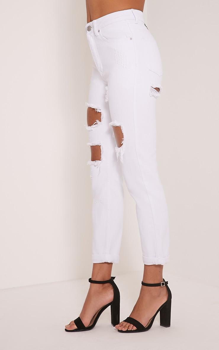 Carley White Extreme Rip Boyfriend Jeans 4