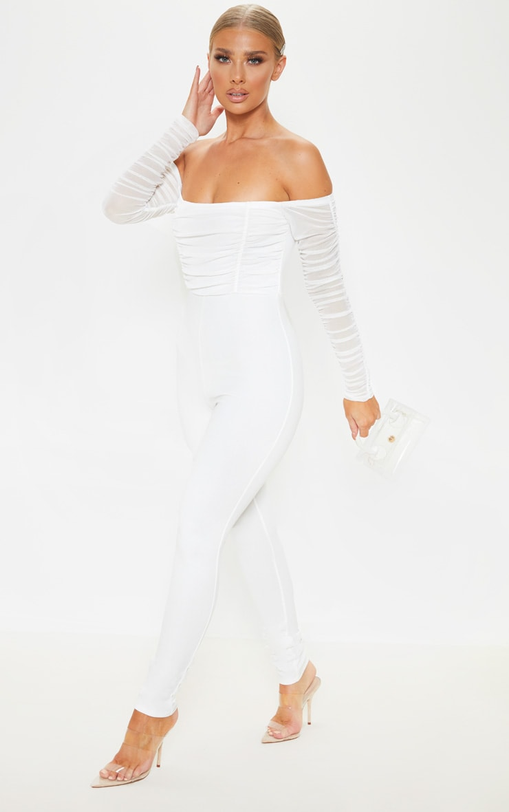White Mesh Bardot Long Sleeve Jumpsuit 4