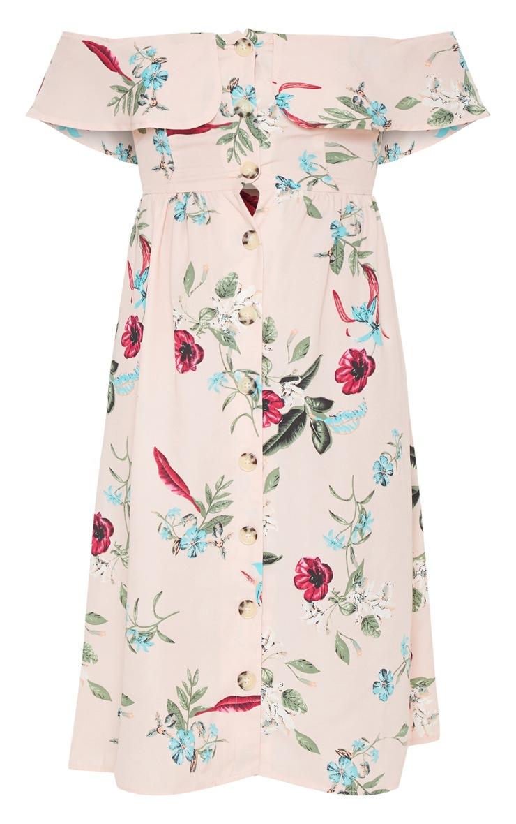 Robe mi-longue rose cendré imprimé floral avec encolure bardot et boutons devant 3