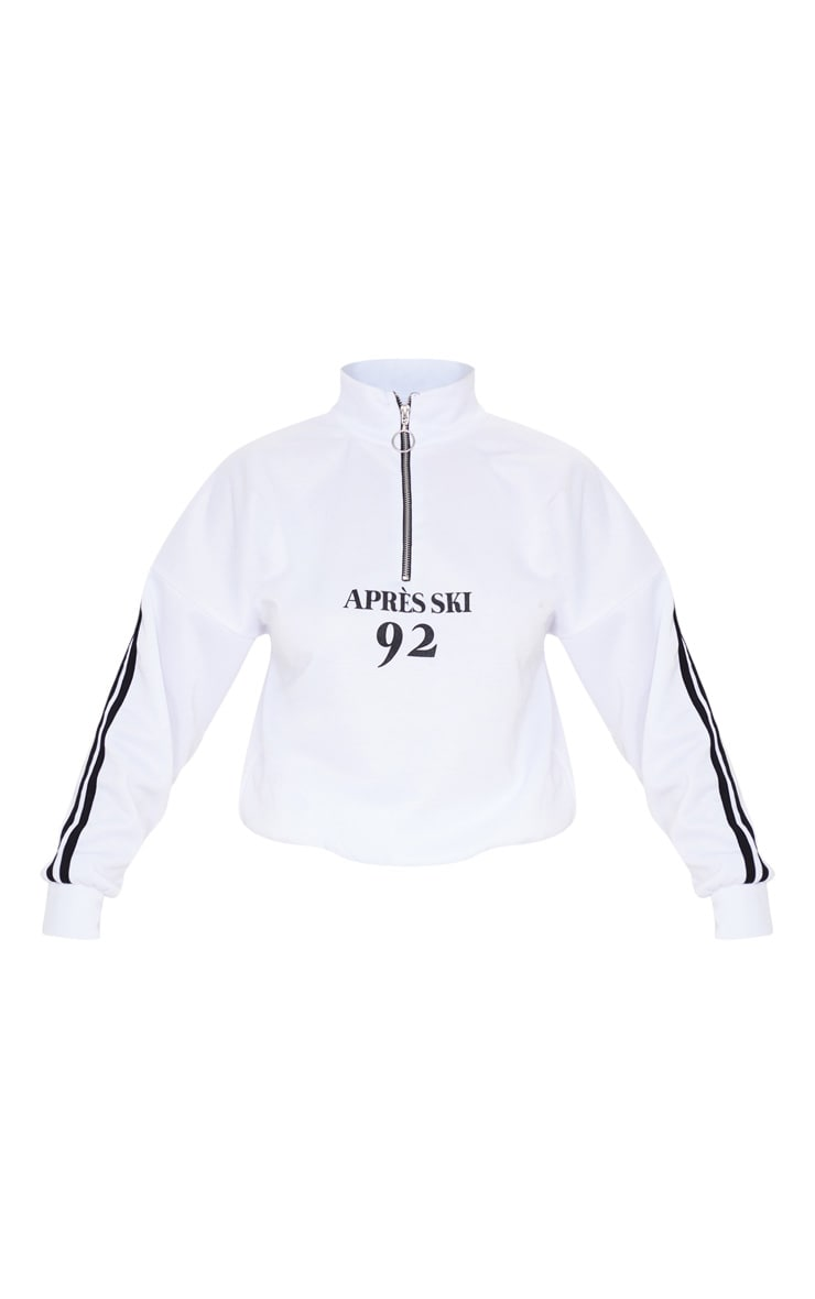 White Apres Ski Zip Front Sweatshirt 3