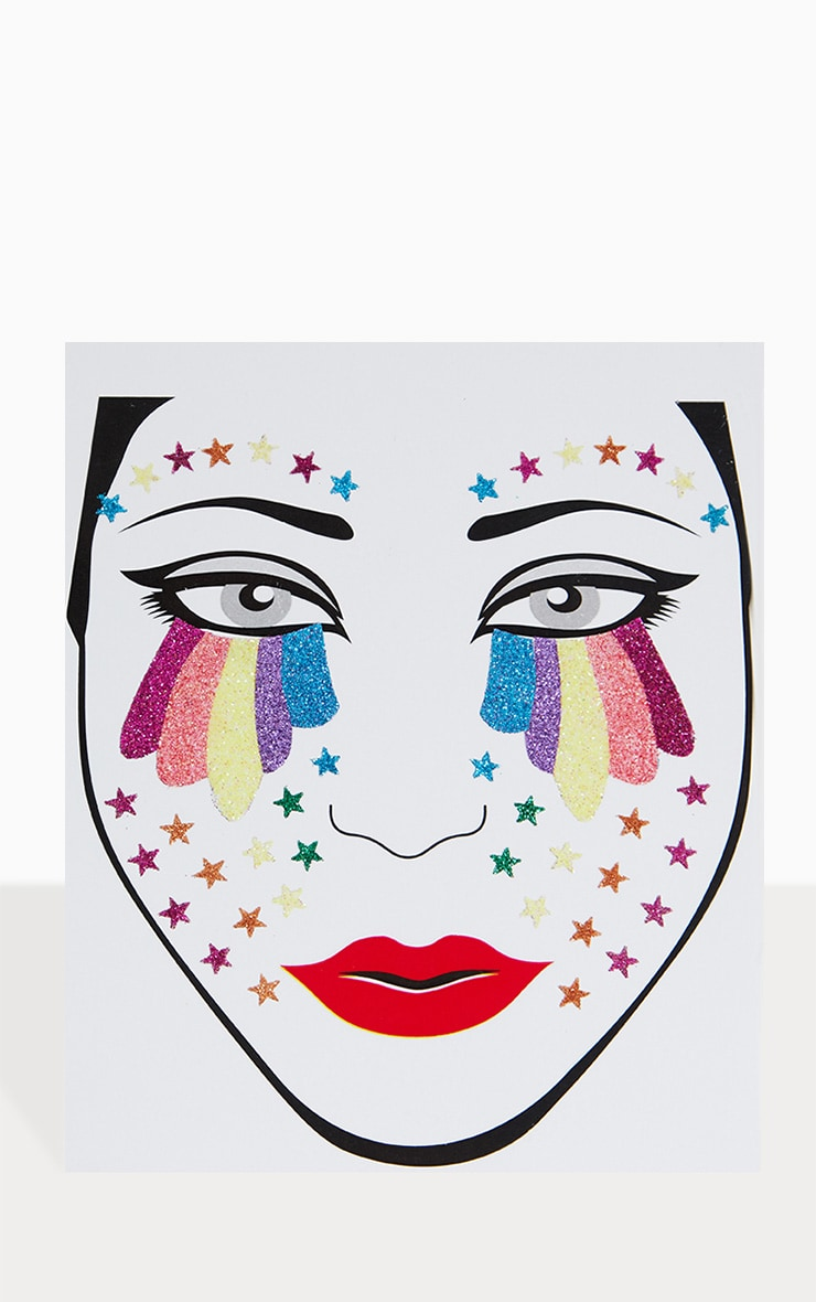 PRETTYLITTLETHING Rainbow Tears Face Jewels 2