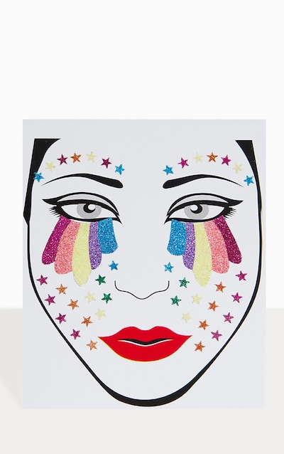 PRETTYLITTLETHING Rainbow Tears Face Jewels