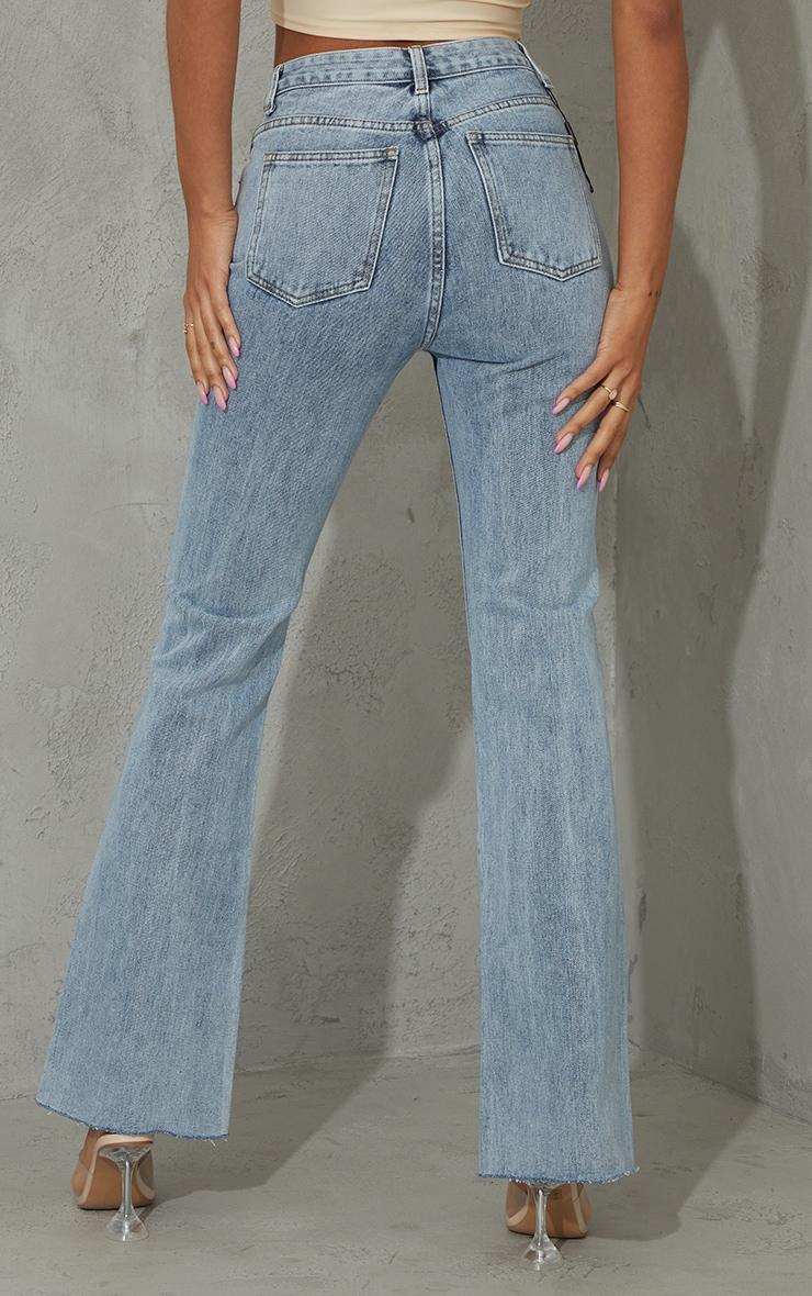 Vintage Wash Raw Hem Knee Ripped Knee Flare Jeans 3