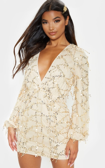 Gold Plunge Sequin Long Sleeve Bodycon Dress
