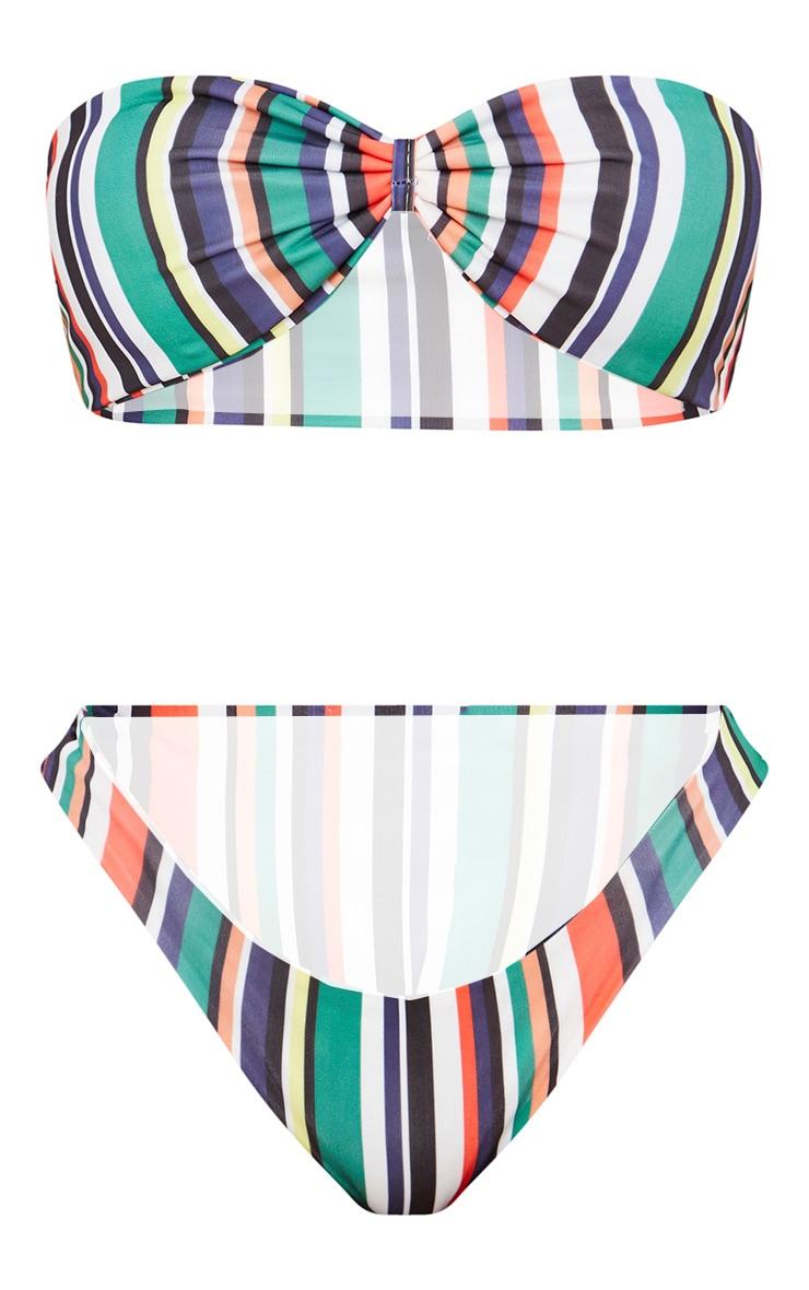 Green Multi Stripe Bow Bikini Set 2