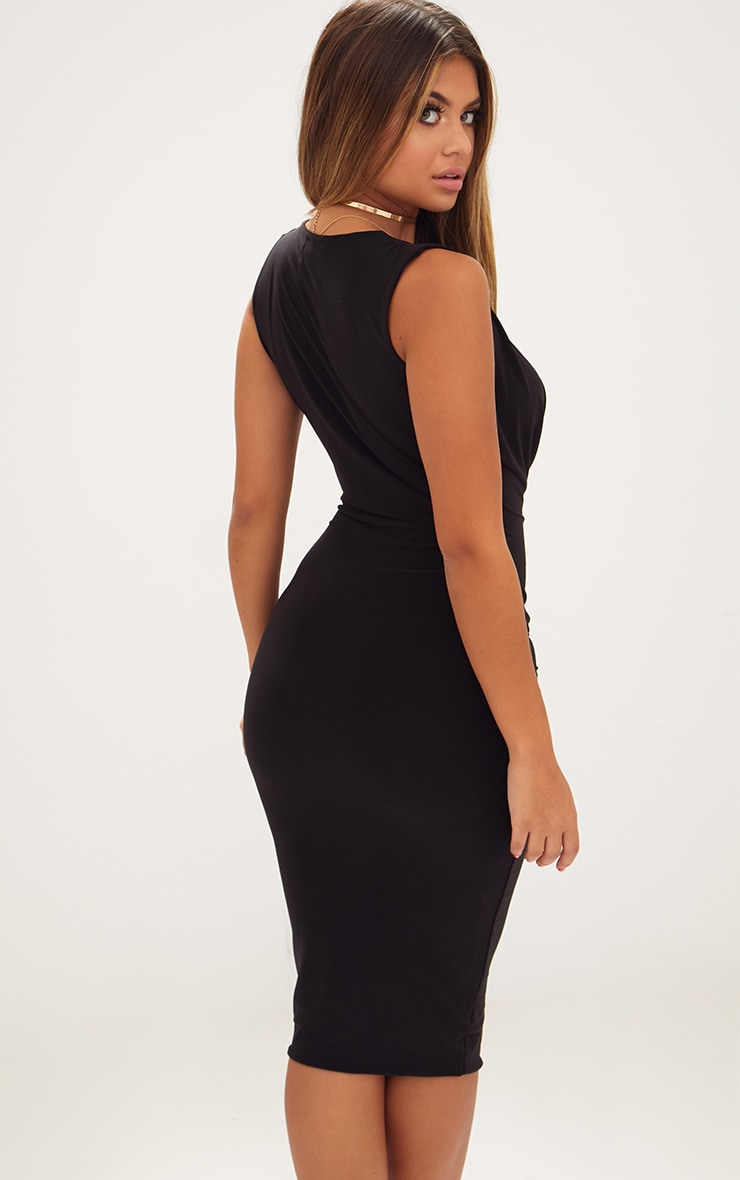 Black Slinky Cowl Neck Midi Dress 2