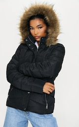Black Quilted Mara Faux Fur Hooded Puffer Jacket 4