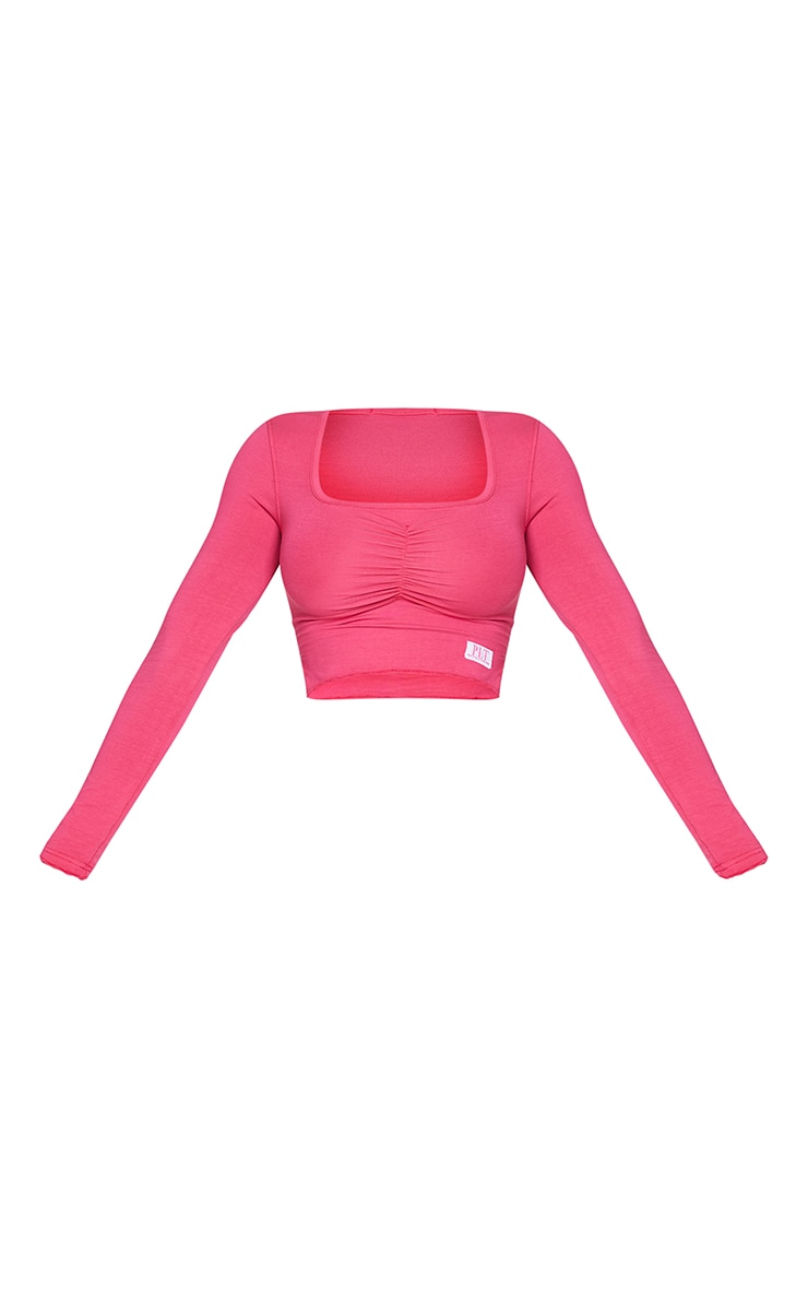 PRETTYLITTLETHING Shape Hot Pink Ruched Front Top 5