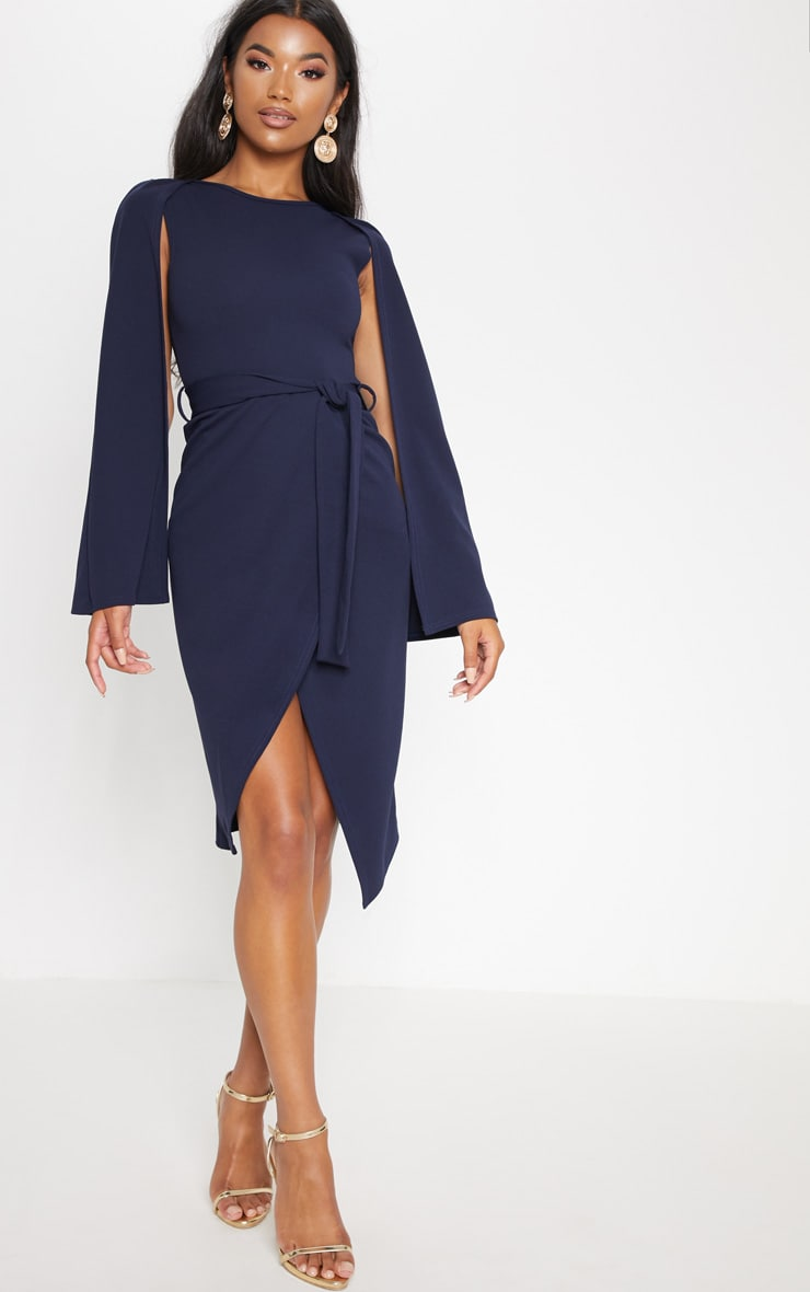 Navy Cape Style Wrap Midi Dress 4