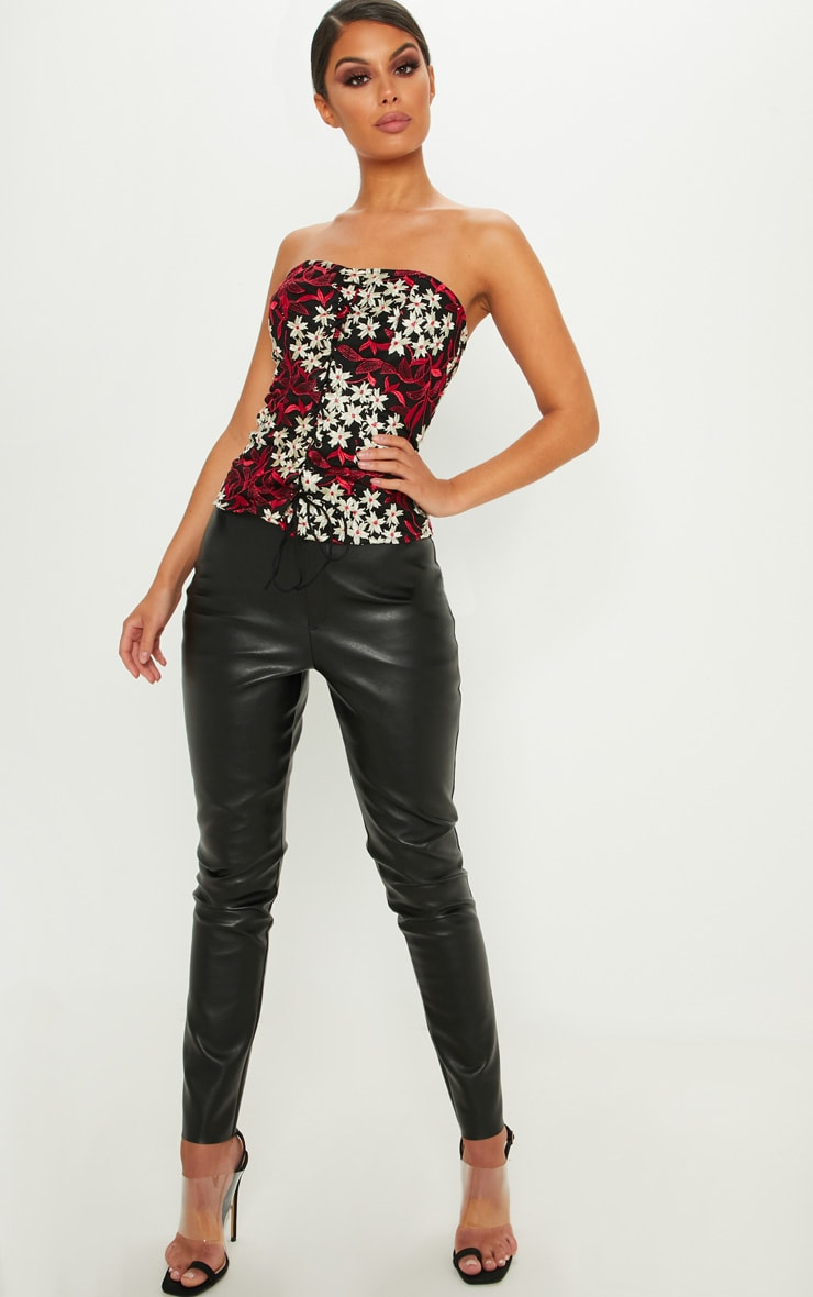 Black Embroidered Lace Up Corset Top 5