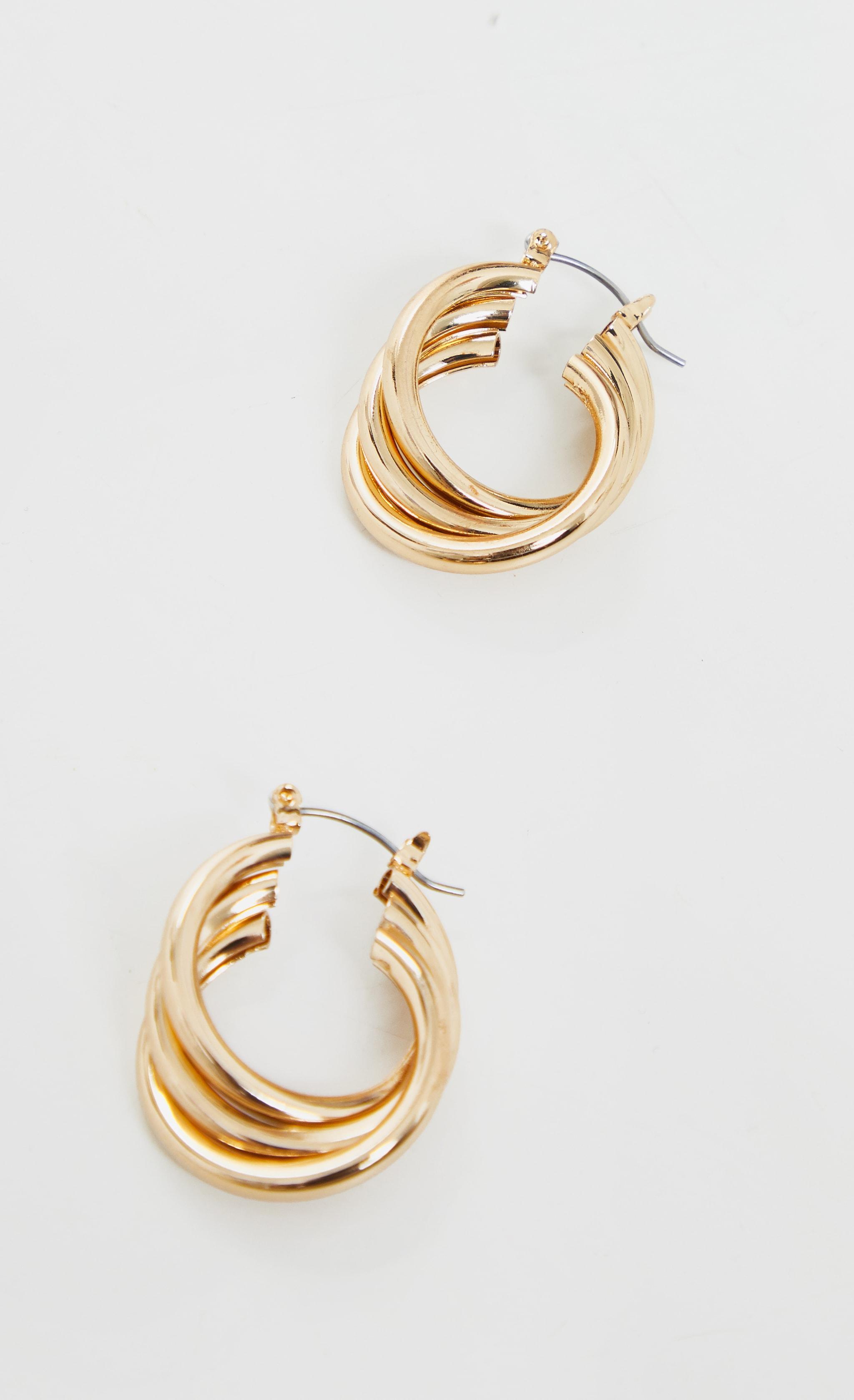 Gold Triple Twist Hoop Earrings 2