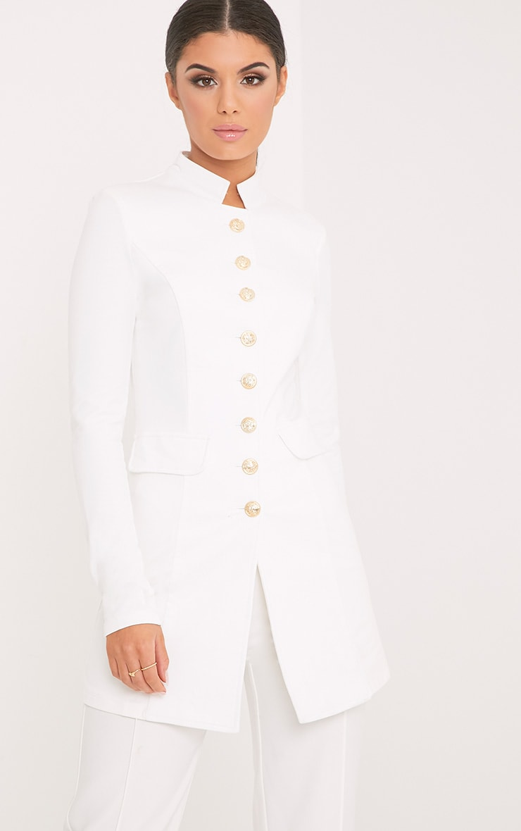 Deleana White Longling Military Style Jacket 1