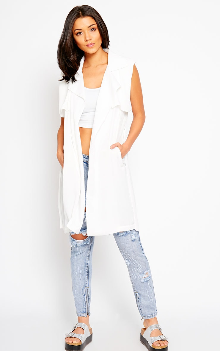 Alena White Chiffon Sleeveless Jacket 3
