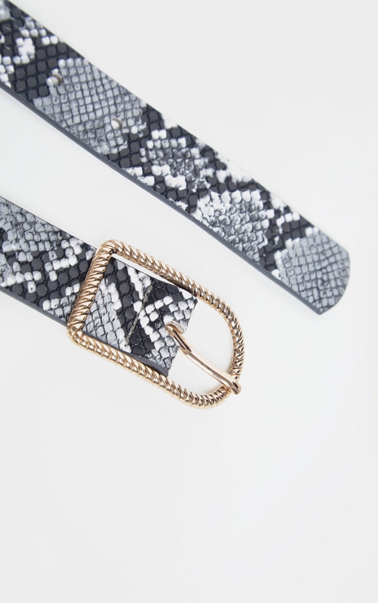 Grey Snake PU Basic Twist Buckle Belt 3