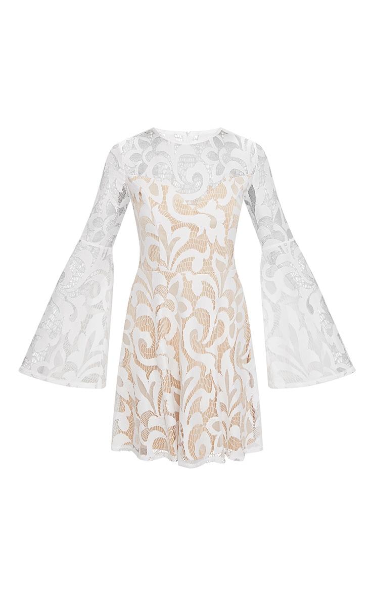 White Flare Sleeve Lace Skater Dress 3