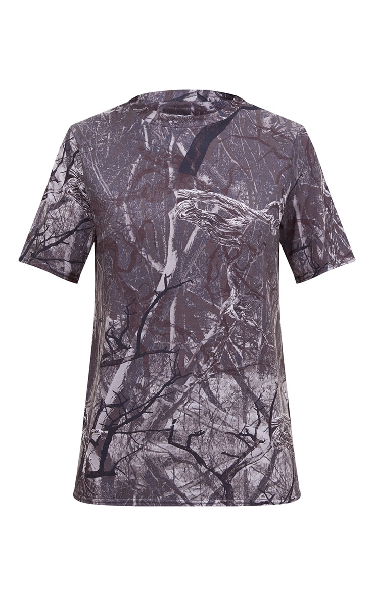 Grey Forest Print Camo Oversized T Shirt 3
