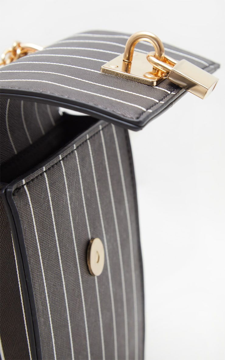 Black Vertical Stripe Structured Chain Bum Bag 4
