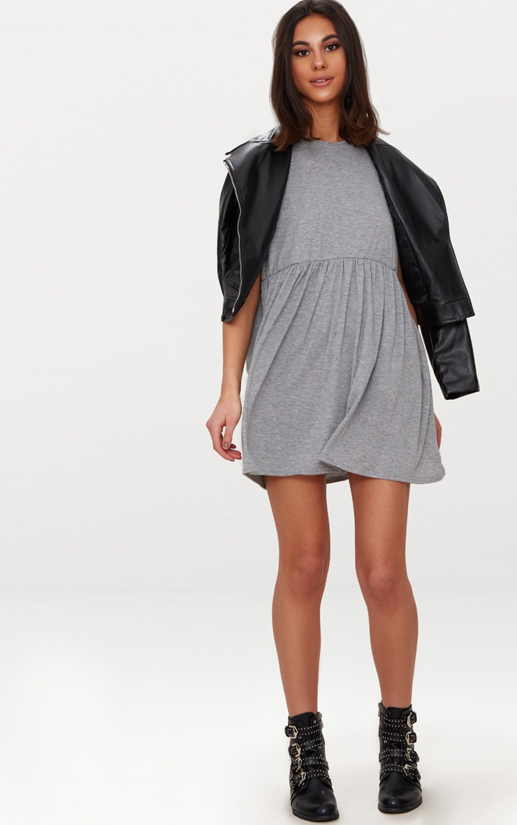 Grey Marl Jersey Oversized Smock Dress 4