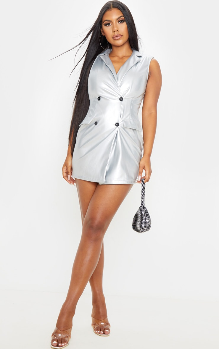 Silver Sleeveless Faux Leather Blazer Dress 1