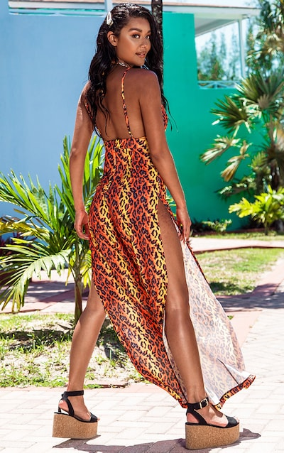 Orange Leopard Wide Leg Beach Jumpsuit