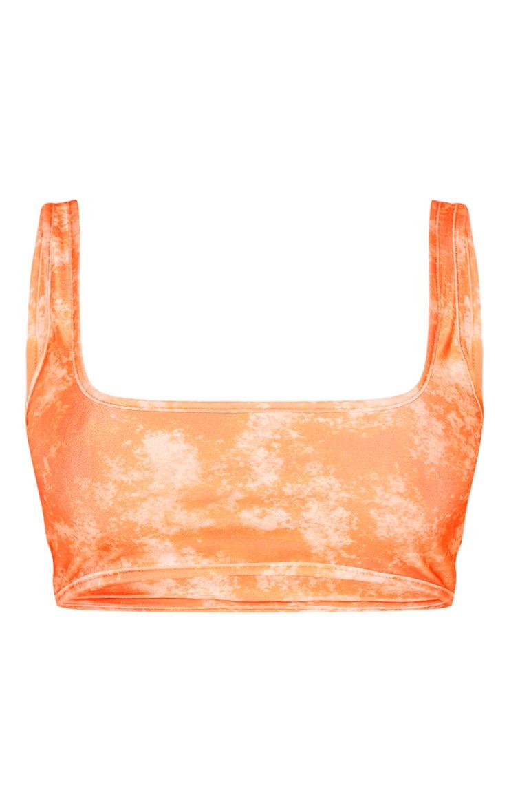 Orange Acid Print Scoop Neck Bikini Top 3