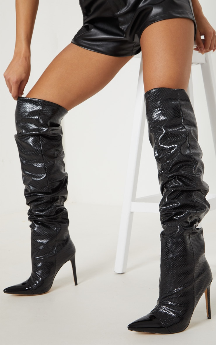 Black Croc Point Slouch Knee Boot 2
