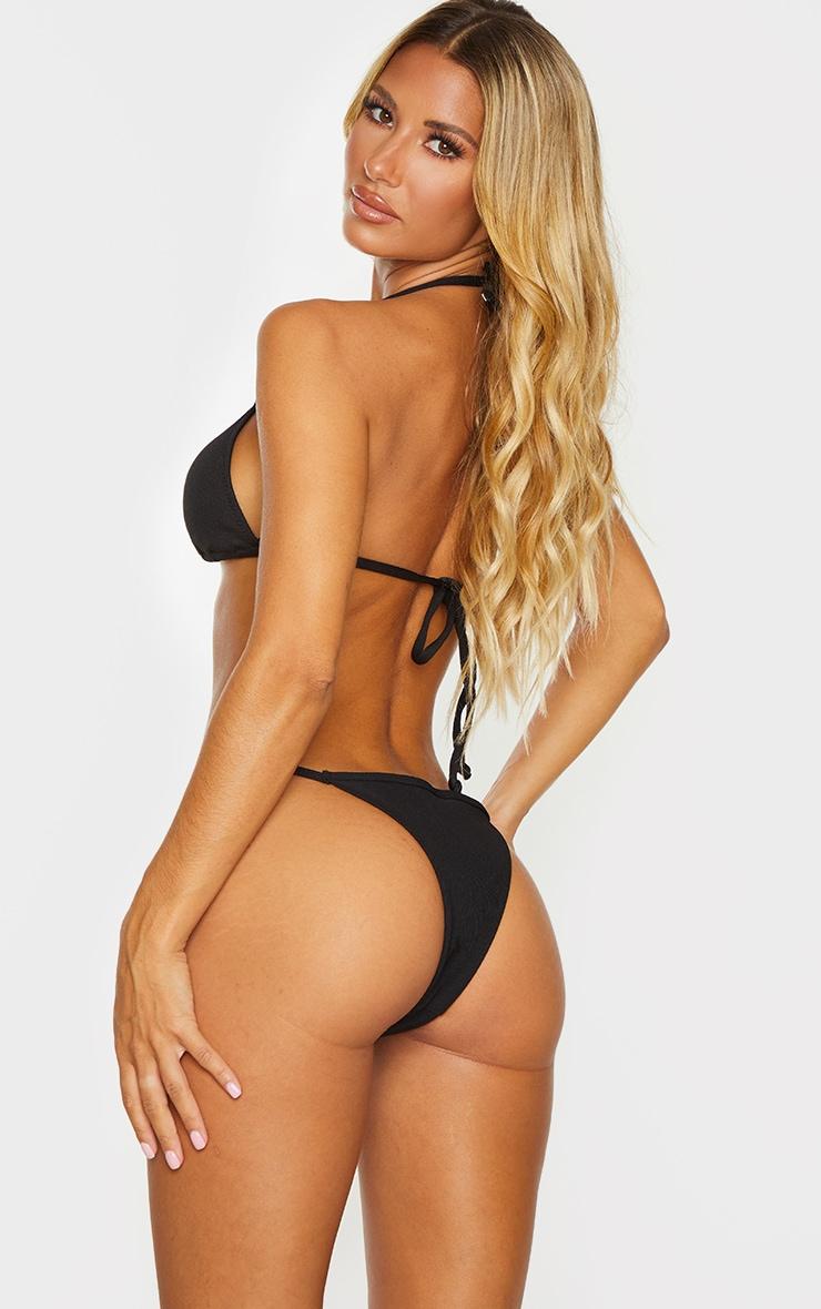 Black Ribbed Padded Triangle Bikini Top 2