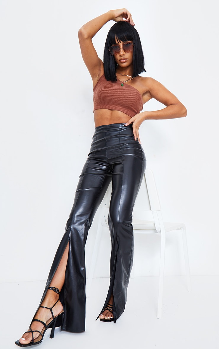 Black Faux Leather Split Front Wide Leg Pants 7