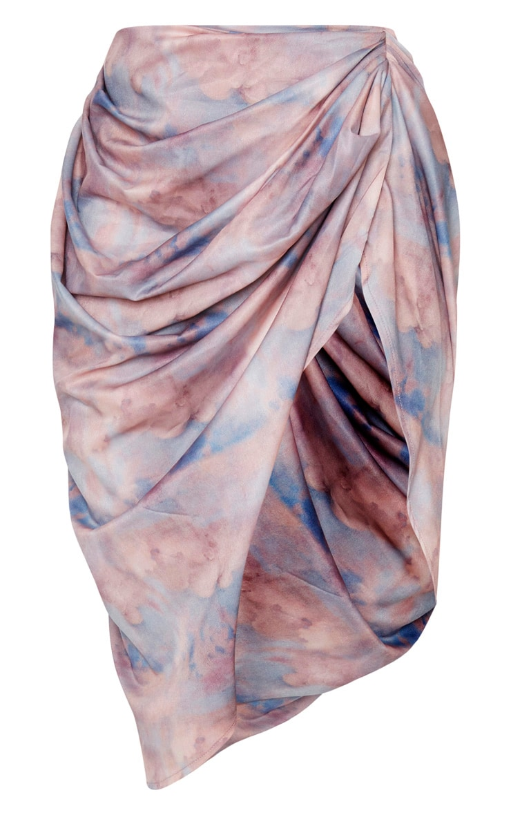 Blue Renaissance Cloud Print Ruched Side Midi Skirt 3