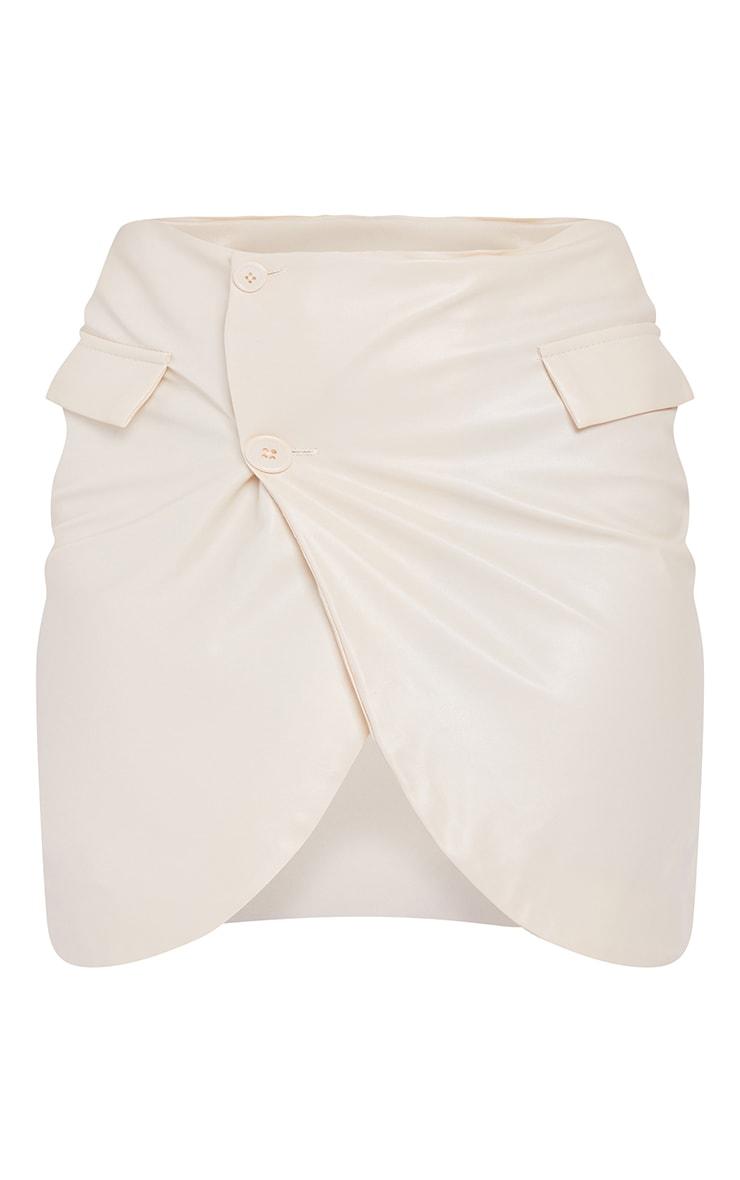 Petite Cream Cropped PU Button Blazer 5