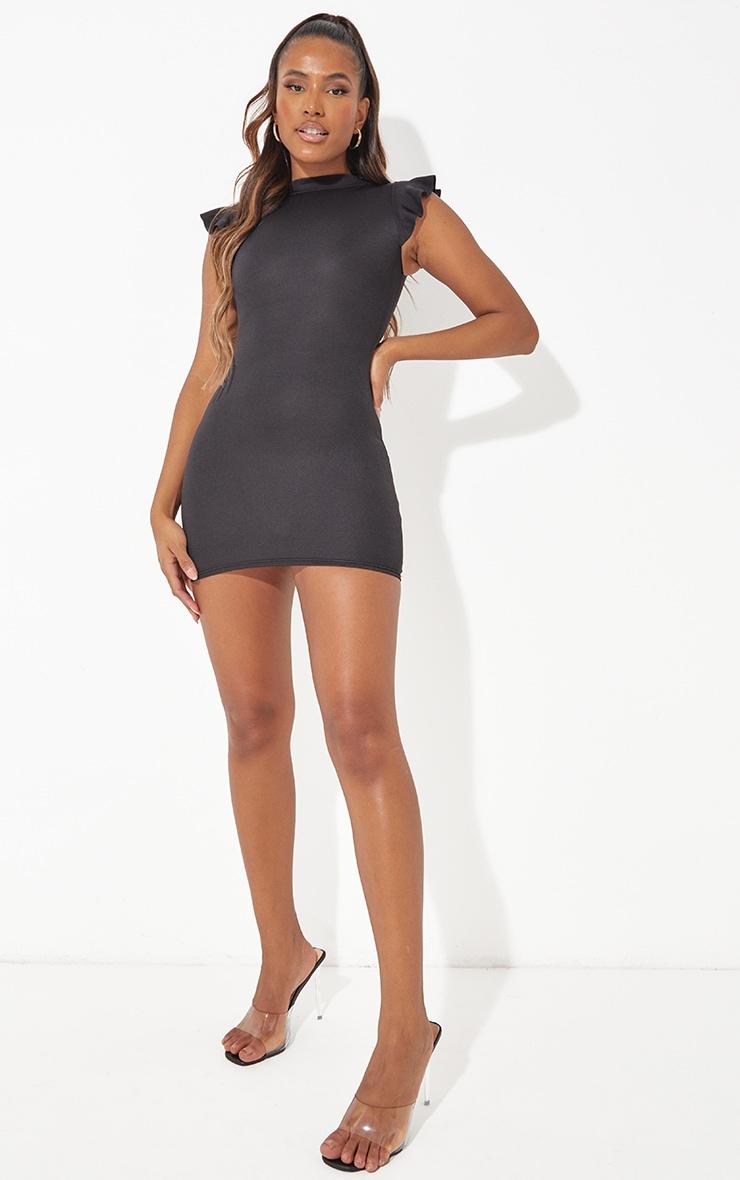 Black High Neck Cap Sleeve Bodycon Dress 4