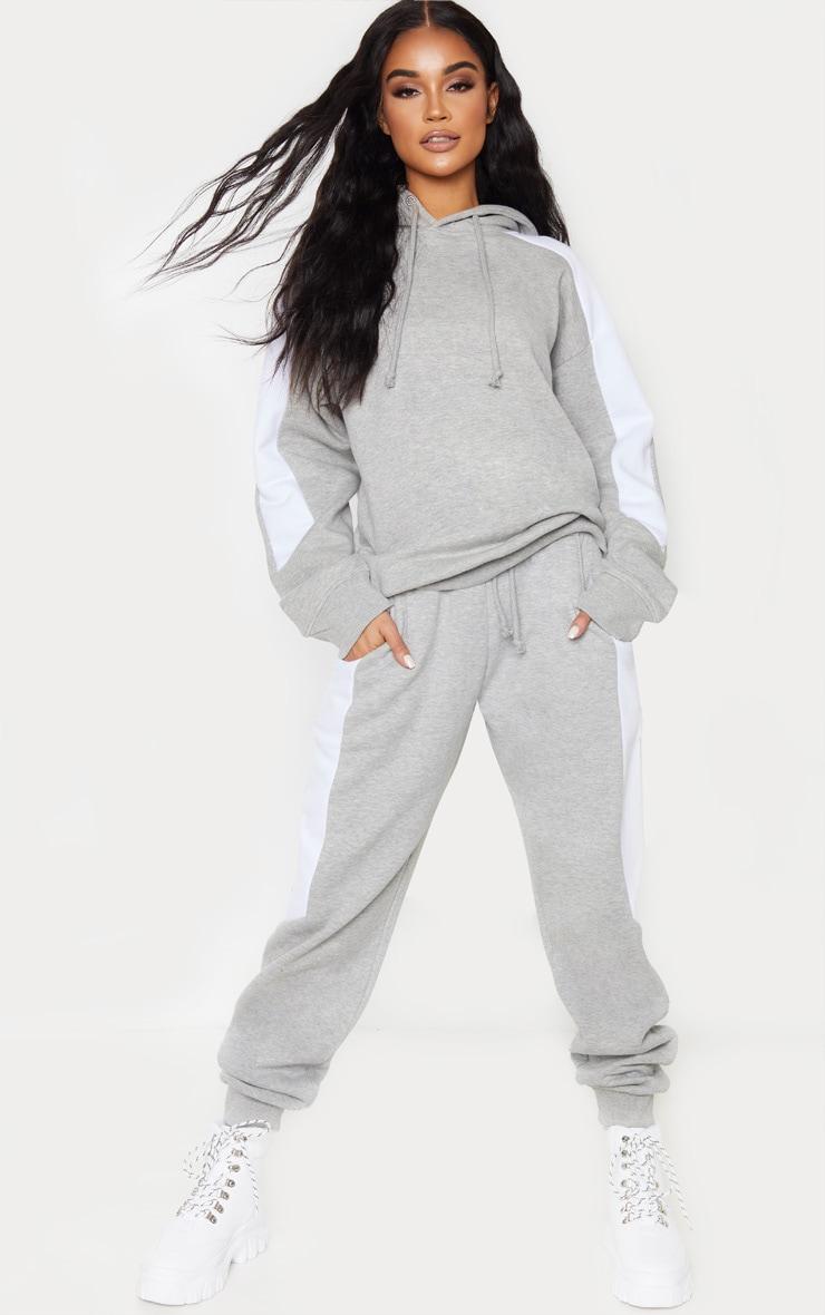 Grey Contrast Side Stripe Hoodie 4