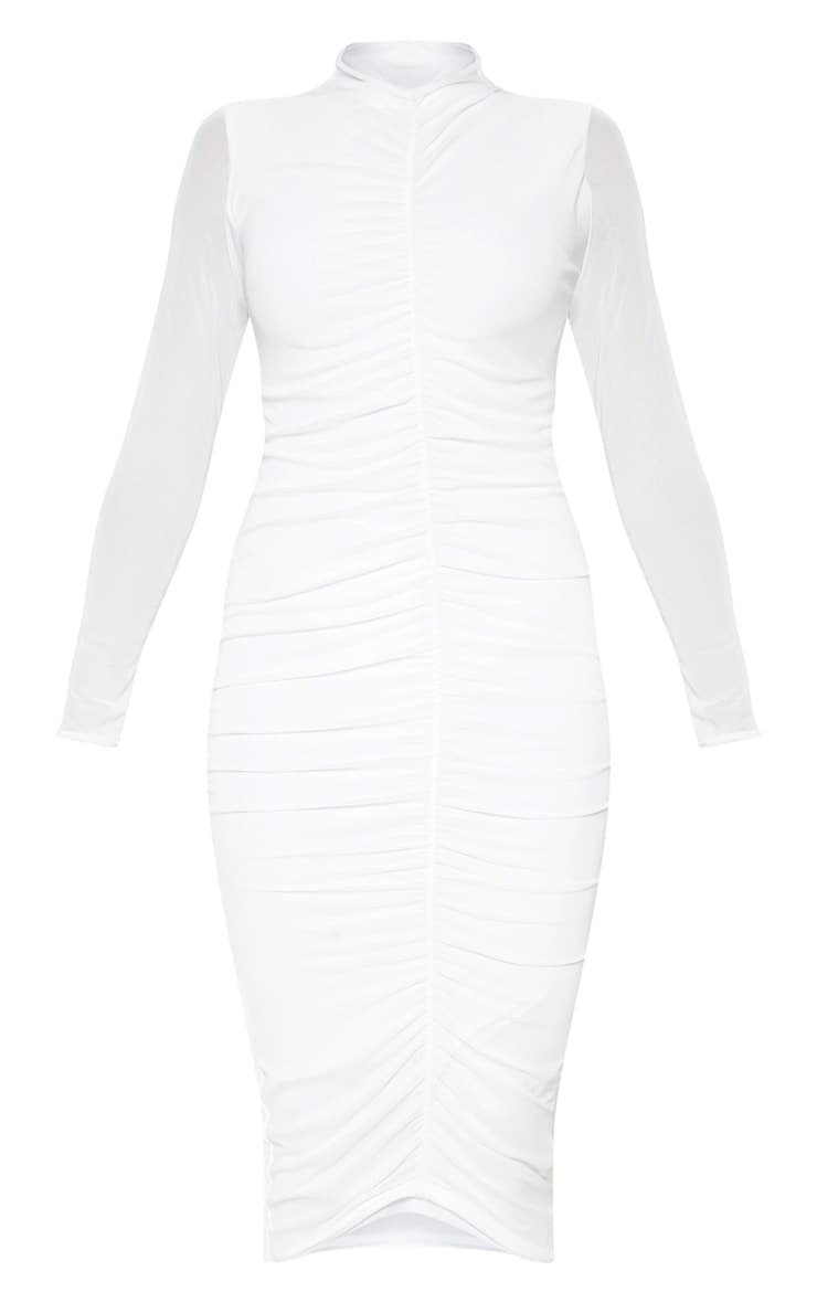 White Mesh Ruched Midi Dress 3