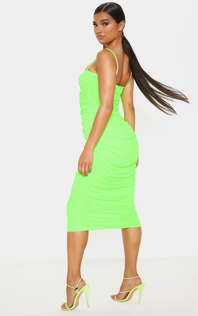 Neon Lime Strappy Mesh Ruched Midaxi Dress