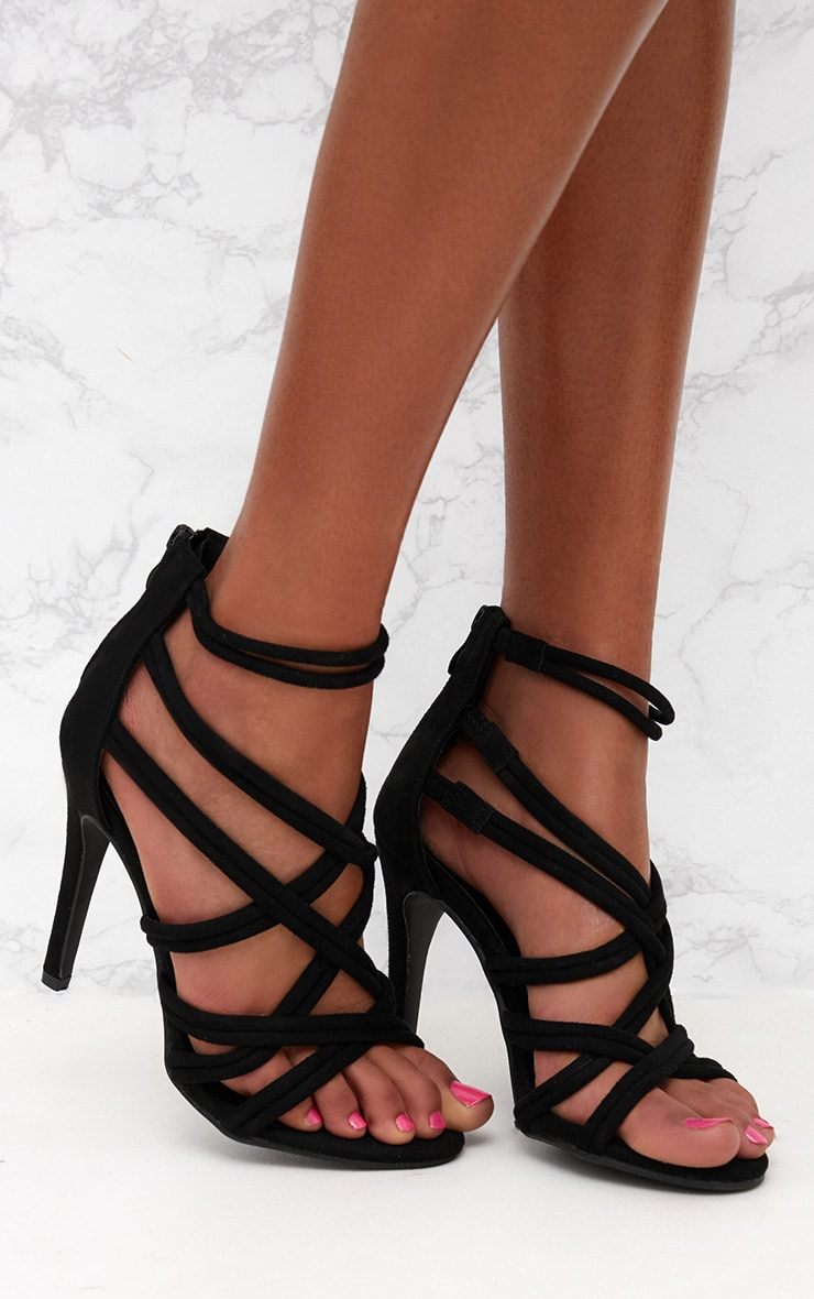 Black Multi Strap Heeled Sandal 1