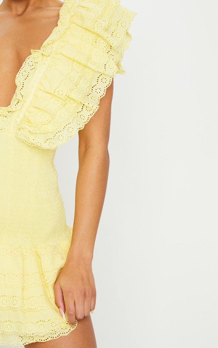 Lemon Broderie Anglaise Shirred Frill Bodycon Dress 5