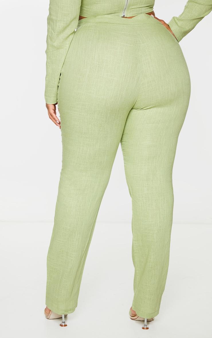 Plus Olive Woven Straight Leg Pants 3