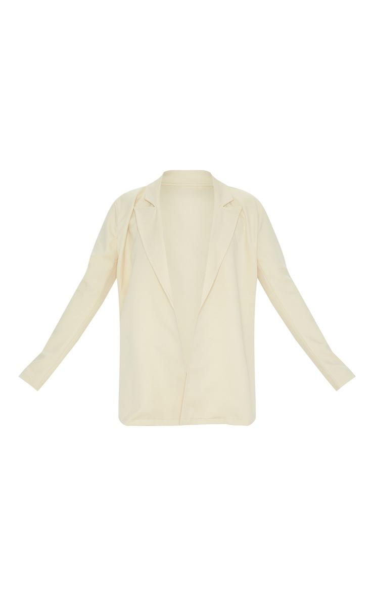 Beige Woven Long Sleeve Blazer 3