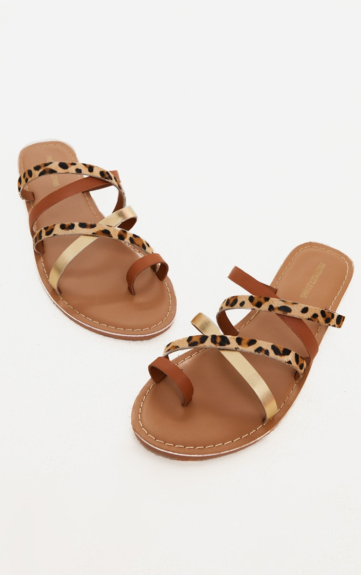 Tan Multi Cross Strap Toe Loop Mule Sandal 1