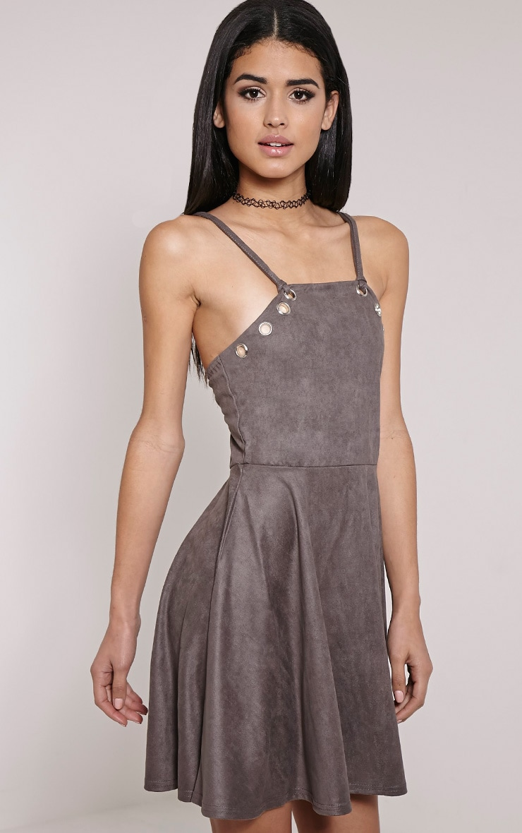 Issa Charcoal Eyelet Faux Suede Skater Dress 4