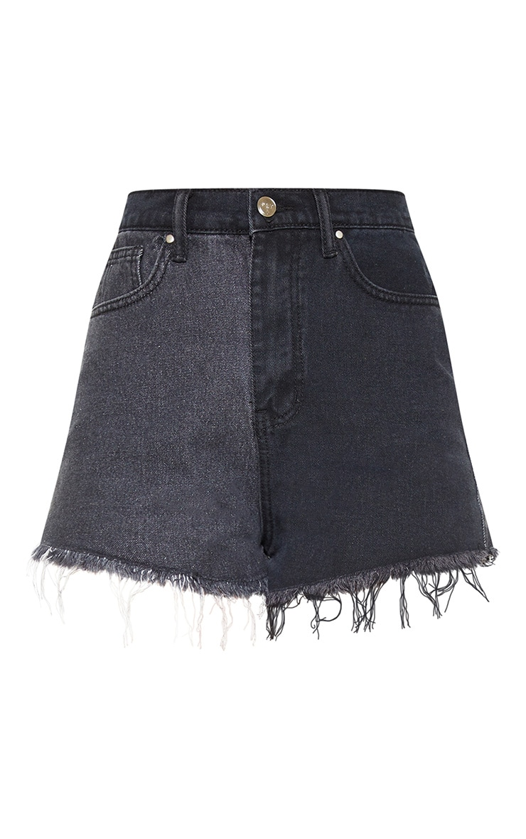 Washed Black Contrast Denim Shorts 3